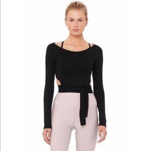 Alo Yoga barre long sleeve top new black medium